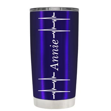 Personalized Heart Beat Pulse on Translucent Intense Blue 20 oz Tumbler Cup