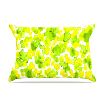 "Ebi Emporium ""Giraffe Spots - Lemon Lime"" Green Yellow Pillow Case"