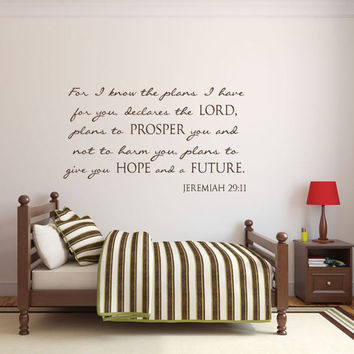 Scripture Wall Decal - Nursery Wall Decals - Nursery Decals - Christian Wall Art - For I know the Plans - Jeremiah 29 11 Wall Decal - Decals