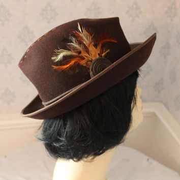 Vintage Ms. Andree by Bellini Esccello Brown Wool and Feather Women's Fedora Hat