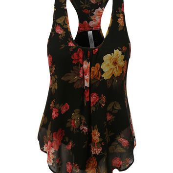 LE3NO Womens Flowy Floral Print Chiffon Racerback Tank Top (CLEARANCE)