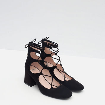 ZARA 2015 lace up heeled shoes ref 7214/001