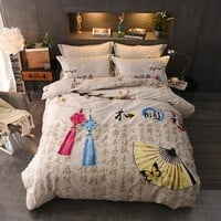 100%Cotton Printed Traditional Chinese Bedding set Comfortable Soft Duvet Cover set Bed Sheet Pillowcases Queen King Size 4pcs