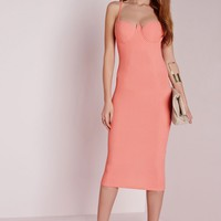 Missguided - Strappy Bodycon Bustier Dress Salmon