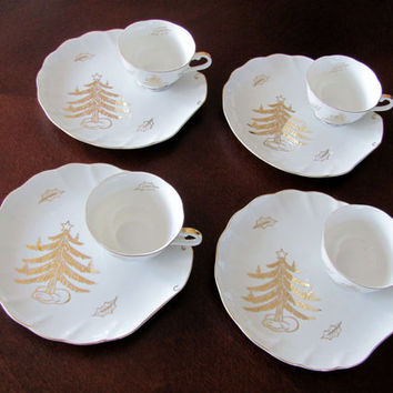 Vintage Christmas Lefton China Golden Tree #1876 Snack Plates And Cups Rare Hard To Find Made In Japan 1949-1955