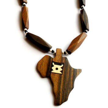 Vintage Tribal Africa Necklace -  Wooden Beaded Pendant - Bone Inlay Jewelry - Black White Brown Earth - Hippie Boho Ethnic Style