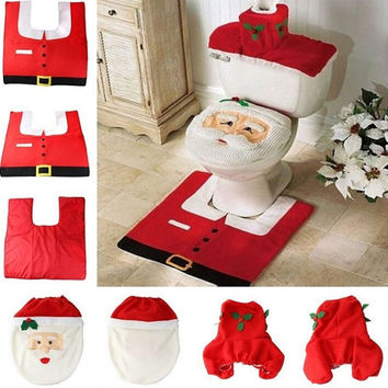 Christmas Decoration Supplies Santa Toilet Seat Cover Paper Towel Set & Rug Bathroom Set