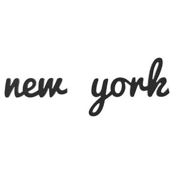 New York Wood Word Decor