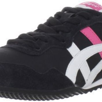 Onitsuka Tiger Women`s Serrano Fashion Sneaker,Black/White/Hot Pink,7 M US