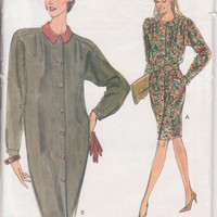 Pattern for loose fitting, tapered, button front dress, long sleeves, optional collar, knee length size 8 10 12 Very Easy Vogue 8170 UNCUT