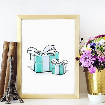 TIFFANYS BOX Blue Tiffanys Box Print Tiffanys Fashion Painting Fashion Print Breakfast at Tiffanys Blue Box Fashionista High fashion