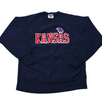 Vintage 90s Lee Sport Kansas Jayhawks Crewneck Sweatshirt Made in USA Mens Size Medium