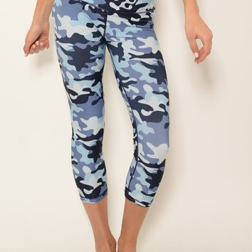 Ana Zabella Camo Print Workout Capri Pant (with pocket)