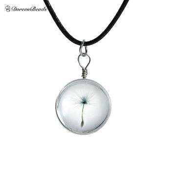 DoreenBeads Hot Real Dandelion Jewelry Crystal Glass Ball Dandelion Necklace Long Strip Leather Chain Pendant Necklaces Women