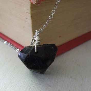 Natural Black Tourmaline Necklace - Natural Ebony Black Tourmaline Nugget Pendant Necklace Silver Chain stone no.13