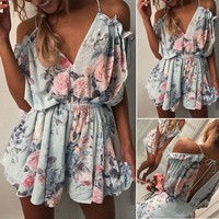 US Women's Off Shoulder Mini Jumpsuit Romper V Neck Floral Playsuit Beach Dress