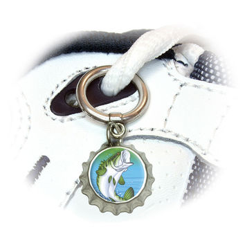 Bass Fish Jumping out of water - Fishing Shoe Bottlecap Charm