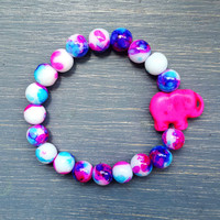 Pink, Blue & Purple Elephant Bracelet