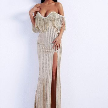 Fringe Trim Split Thigh Sequin Bardot Maxi Dress