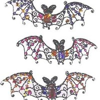 Baguette Jewelled Halloween Bat Ornaments Set of 3 Katherine's Collection