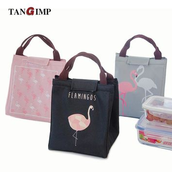 Cute Pink Flamingo Canvas Insulated Lunch Tote Bag