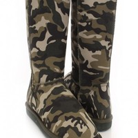 Camouflage Faux Suede Comfy Mid Calf Boots