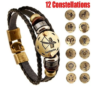 Vintage Punk Style 12 Constellations Multi-layer Leather Cuff Chain Lucky Charm Bracelet Fashion Jewelry for Women and Men Bronz