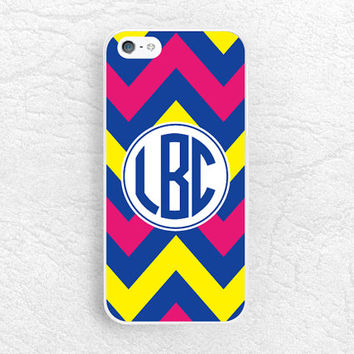 Colorful Chevron Monogram Phone Case for iPhone 6 5 4, Sony z1 z2 z3 compact, LG g2 g3 nexus 6, HTC One Custom Case with personalized name