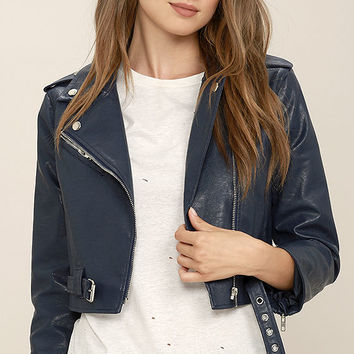 Serendipitous Navy Blue Vegan Leather Moto Jacket
