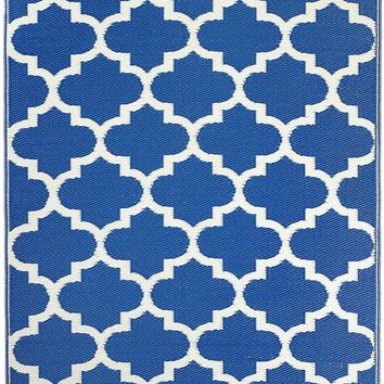 7104 Blue Moroccan Trellis 100% Recycled Outdoor Area Rugs