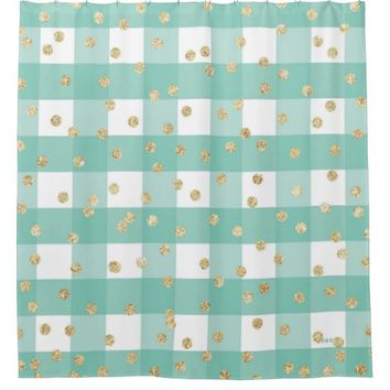 green,white,gingham,gold,polka dot,trendy,girly,ch shower curtain