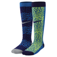 Nike Graphic Cotton Knee-High Kids' Socks (2 Pair)