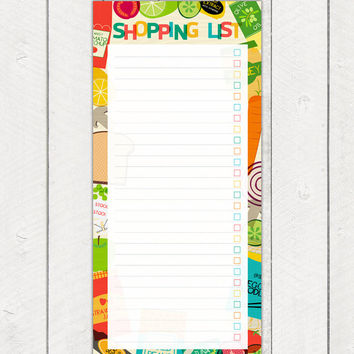 Printable Shopping List Planner Pad Food Cooking Illustrations Sale