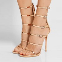 PU Peep-toe Stiletto Heel Straps High Heel Sandals