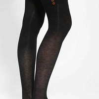 Lightweight Buttoned Thigh-High Sock- Black One