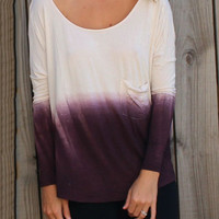 White and Purple Tie-dye Long-sleeved T-shirt