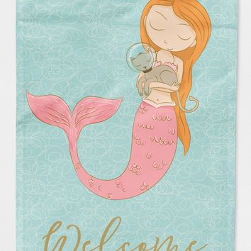 Mermaid with Cat Welcome Flag Garden Size BB8577GF