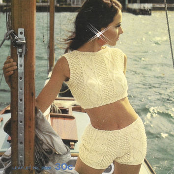 Vintage Aran Hip Hugger Hot Pants hippie pants pattern PDF Instant Download knitting HIPPIE pants knitted supplies epsteam hippie SHORTS