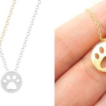 Hollow Paw Pendant Necklace