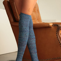Multi Color Over The Knee Boot Socks-Turquoise