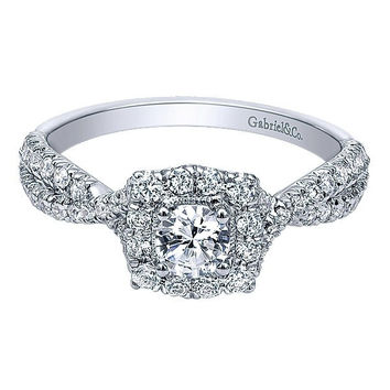 14K White Gold .73cttw Cushion Halo Diamond Engagement Ring with Crossover Shank