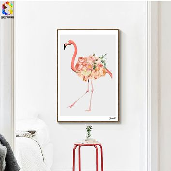 Nordic Flamingo Canvas Art Print Poster Flower Wall Painting Picture for Living Room Decoration Home Decor