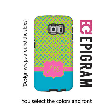 Monogram Samsung Galxy S6 Edge case, lime, turquoise and hot pink Galaxy S6 case, polka dot Galaxy S5 case, tough case Galaxy S6, 3D wrap