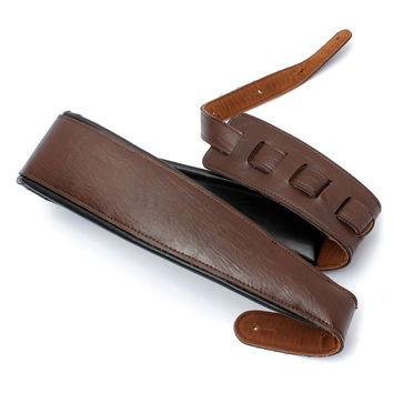 High Quality Adjustable Black+Brown PU Leather Strap For Electric & Acoustic Guitar Bass
