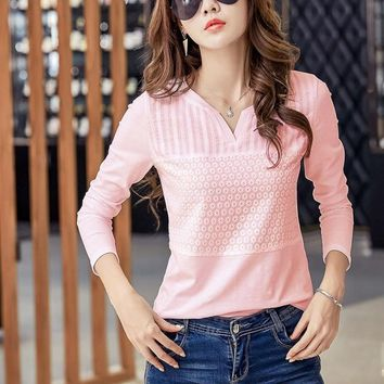 Pink Cotton Embroidered Blouse White Long Sleeved V neck Women Blouses Women's Shirt tops Women Casual Blusas