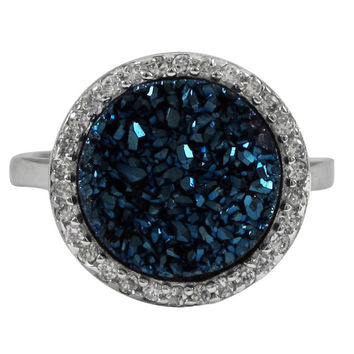 Blue Druzy 15mm Round Sterling Silver CZ Ring