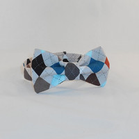 Multi-Colored Tan Base Argyle Bowtie For Boys