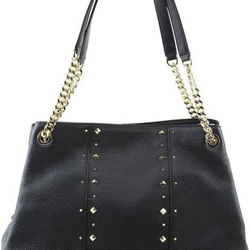 ONETOW MICHAEL Michael Kors Women's Jet Set Item Large Shoulder STUDDED Leather Handbag (Black)