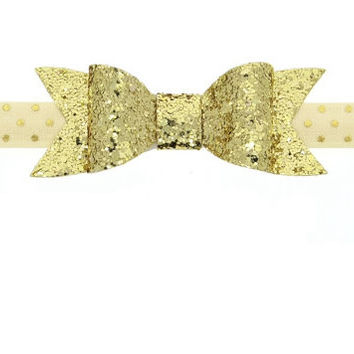 Gold Glitter Bow Headband For Newborn Girls, Glitter Gold Bow Baby Headband,Headband For Toddler Girls, Bow Headband for Baby Girls