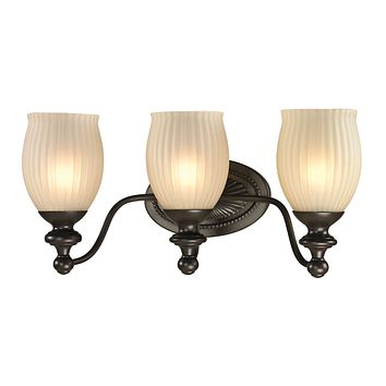 Park Ridge 3-Light Vanity Lamp in Oil Rubbed Bronze with Reeded Glass